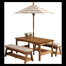 highest kidkraft outdoor furniture table bench set with cushions umbrella oatmeal