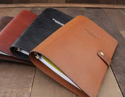 leather 3 ring binder notebook