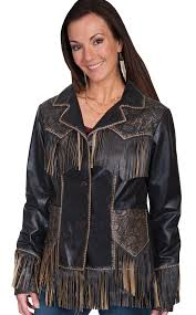 miss kittie women s tooled leather fringe western jacket