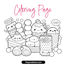 Kawaii food, kawaii cat, kawaii unicorns. Kawaii Sweets Doodle Free Coloring Page Printalbe Pdf