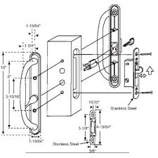 stb sliding glass patio door handle set mortise type keyed white 3 15 16 s