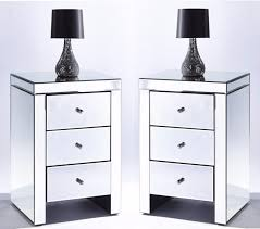 Mirrored bedside furniture Luxury Bedroom Set Chic Mirrored Glass Nightstand Beside Table Three Drawers Chest Ebay Set Mirrored Bedside Tables Drawers With Built In Usb Ebay