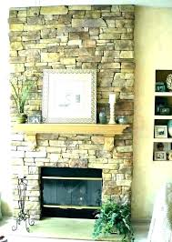 stone veneer fireplace over brick cover with faux panels fir