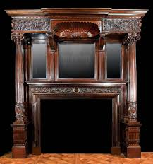 antique mahogany late victorian fireplace mantel fireplaces vintage gas heating stoves glass doors screens wooden mantelpiece wall mounted small stove
