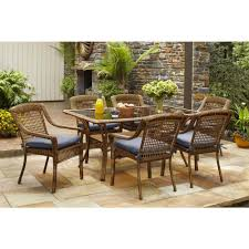 porch furniture home depot. hampton bay spring haven brown 7piece allweather wicker patio dining set with sky blue cushions662999 the home depot porch furniture
