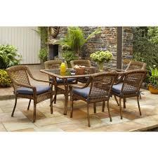 hampton bay spring haven brown 7 piece all weather wicker outdoor patio dining set