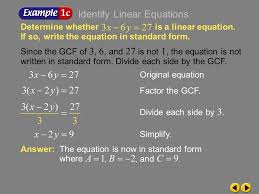 answer the equation is now in standard form where example 5 1c since the