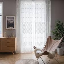 Minimalismus Gardine Geometrie Weiß Jaquard Im Schlafzimmer