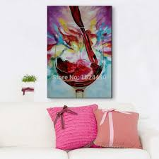 Modern Wall Paintings Living Room Modern Wall Painting Hand Painted Abstract Red Wine Glass Oil