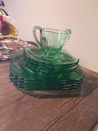 8 vintage green depression square design plates 1 cup glass dessert saucers