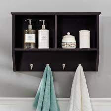 w hanging wall shelf with hooks in