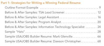 Federal Resume Samples Include: