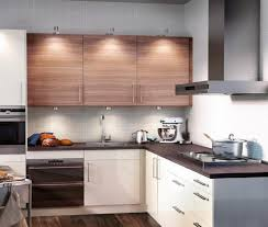 Small Kitchen Lighting L Shaped White Stained Wooden Kitchen Cabinet Using Black Marble