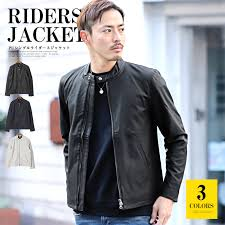 it is rag style in single riders jacket men fake leather leather jacket pu synthetic leather bitter bitter system outer black plain fabric shin pull
