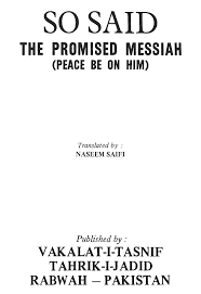 So Said The Promised Messiah