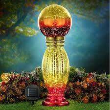Outdoozie Outdoor Glass Solar Light Solar Lighted Glass Gazing Ball Garden Yard Lawn Ornament Art Decoration 21h
