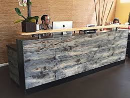 4 Foot Memphis Reception Desk Made with Reclaimed Wood and Metal Multi-Use  Desk in