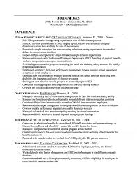 Hr Generalist Resume Objective Examples Human Resources Sample