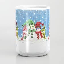 Colorful Snowmen Family Portrait Coffee Mug