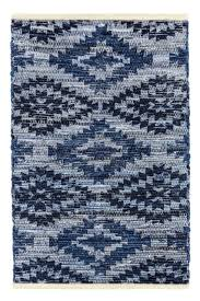 bo archangel southwestern blue denim jean handcrafted cotton rug woven mat eco friendly go green perfect for kitchen bathroom bedroom entry way