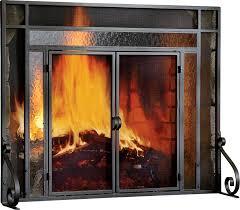 2 panel steel fireplace screen