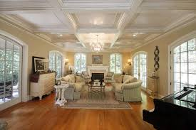 How To Decorate A Tray Ceiling Coffered Tray Ceiling With Living Room And Laminate Flooring And 74