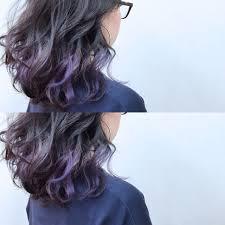 グレーからパープルのグラデーションインナーカラー Hair2019