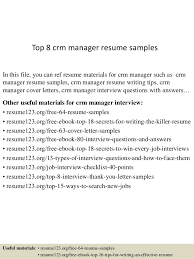 Resume 123 Org Free 64 Resume Samples Best Of Top 24 Crm Manager Resume Samples