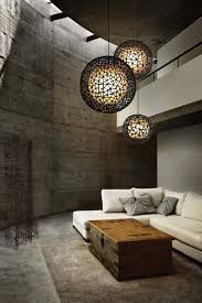 trendy lighting fixtures. Living Room With Concrete Walls And Floors Also Contemporary Lighting : Functional Artsy Fixtures Trendy I