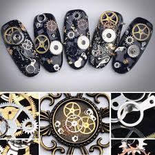 <b>1 Box</b> Metal <b>Steampunk</b> Nail Stickers Ultra Thin Wheel Gear 3D Nail ...