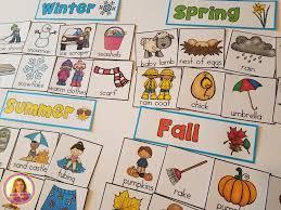 Chart On Winter Season Dollar Deal Four Seasons Pocket Chart Sort Winter Spring
