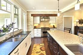 honed quartz countertops kitchen transitional with neutral colors grey