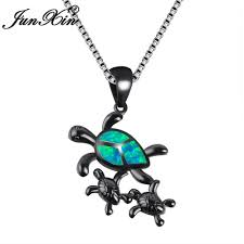 whole junxin new vintage black gold filled cute turtle family design ocean blue white fire opal pendants necklaces for women nl0145 pendant