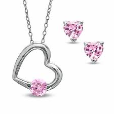 5mm pink cubic zirconia heart pendant and heart shaped stud earrings set in sterling silver