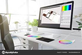 graphic design office. Graphic Design Computer Screen Creative Studio Workplace Colour Swatches Table \u2014 Stock Photo Office
