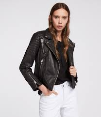 allsaints papin leather jacket in black