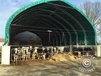 Zelthalle/Rundbogenhalle 15x15x7,42m, PVC, Weiß/Grau - Dancovershop AT