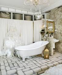 beautiful bathroom inspiration idea for girls with brick wall paint color and white chandelier idea and white bathtub design and white curtains bathroom