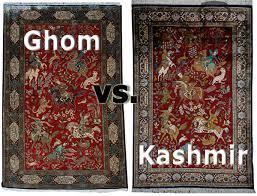 silk kashmir rug vs silk ghom rug persian and indian head to head identification