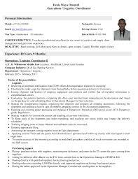 Service Coordinator Resumes Logistics Coordinator Resume Mt Home Arts