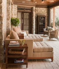 sun room furniture. Designs Ideas:Traditional Sunroom With Brown Sofa Beds And Small Side Table Stone Wall Sun Room Furniture R