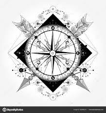 Kompasu Tetování A Tričko Design Kompas A Překřížené šipky Stock