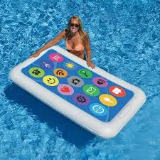 pool water with float. Swimline Smart Phone Float Inflatable Adult Swimming Pool Water Floating Raft, Multicolor With