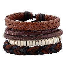 5pcs vintage antique woven leather bracelet for men and women