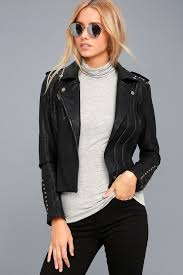 est vegan leather jacket lulus women studded jacket edgy moto jacket simple elegant black mo99494
