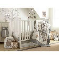 image of owl crib bedding grey
