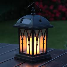 solar powered outdoor garden flickering candle holder led lantern light lamp