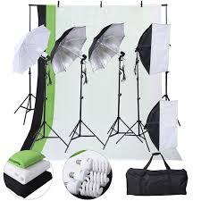 photography lighting kits chromakey studio background light stand 3x backdrops green black white 3x umbrellas 2x