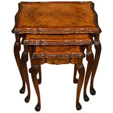 1920s Period Burr Walnut Queen Anne Style Antique Nest of Tables
