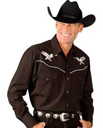 Ely Cattleman Mens Eagle Embroidered Western Cowboy Shirt